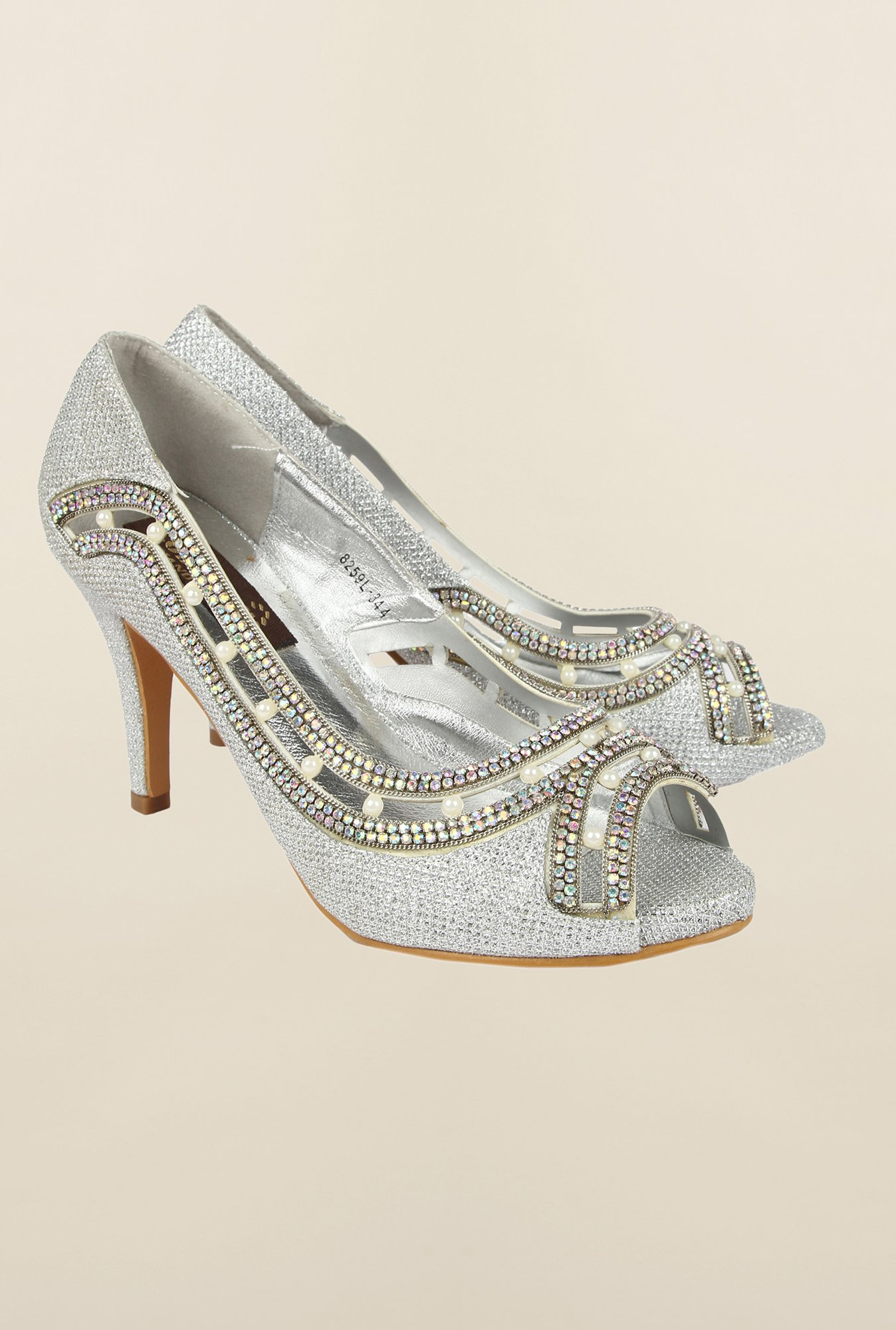 Cobblerz Silver Peep Toe Sandals