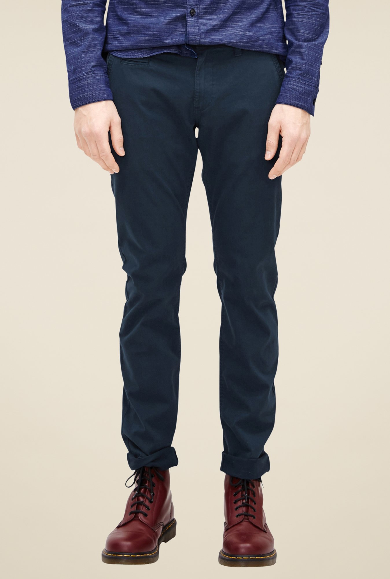 s.Oliver Navy Solid Chinos