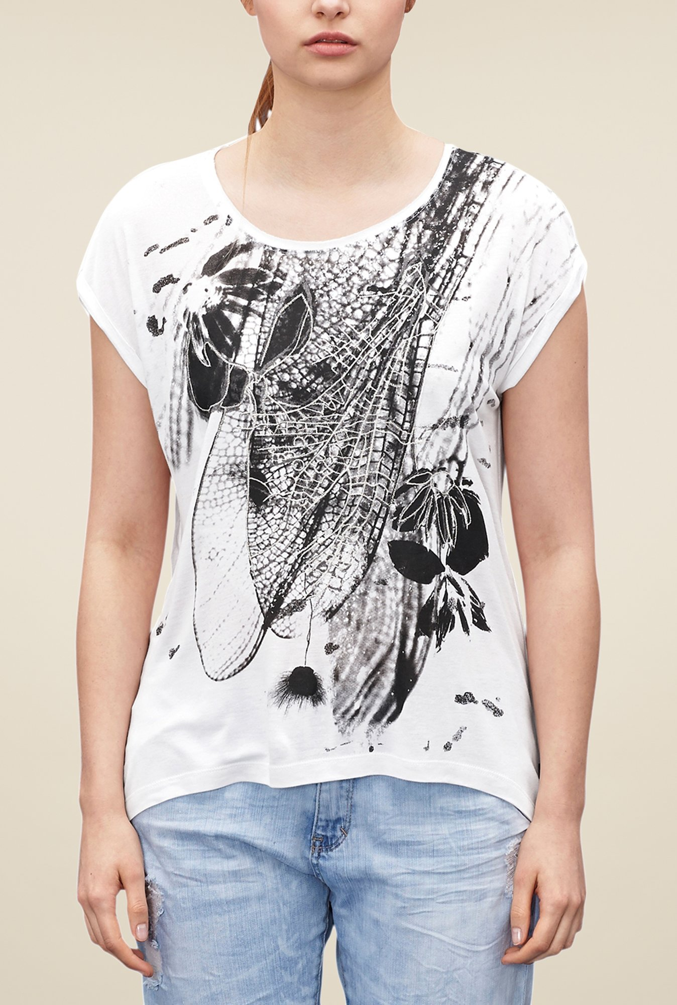 s.Oliver White Graphic Print T Shirt