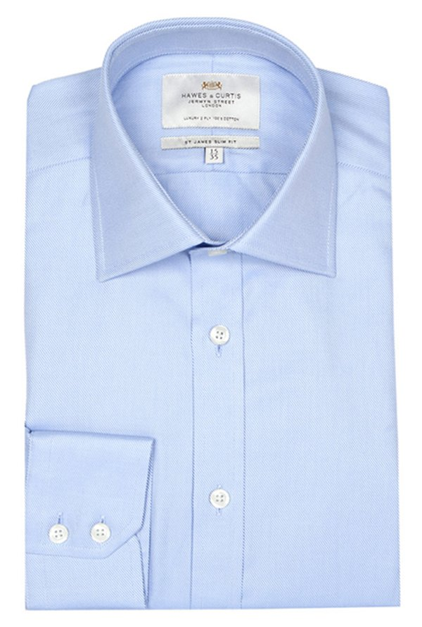 Hawes & Curtis Blue Solid Shirt