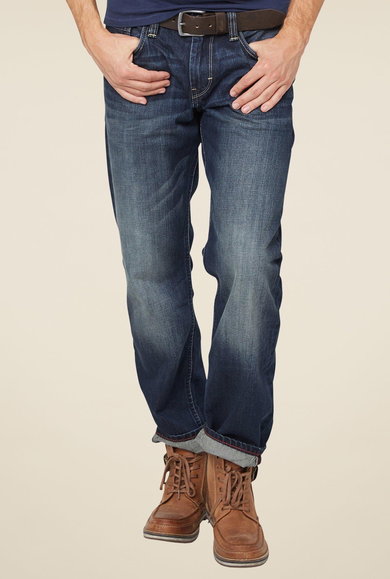 buy s oliver dark blue lightly washed jeans online at best. Black Bedroom Furniture Sets. Home Design Ideas