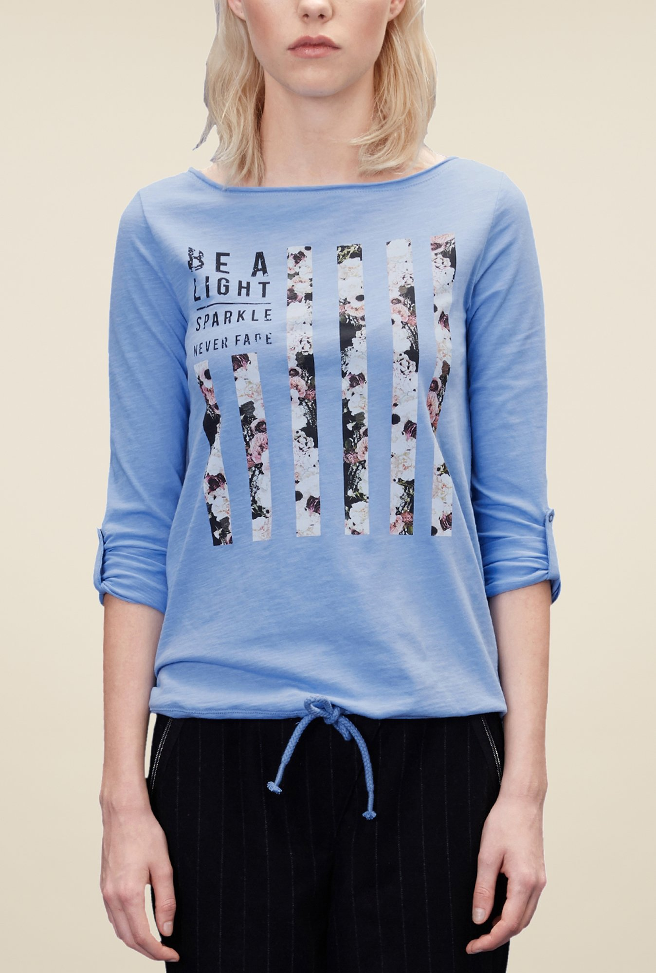 s.Oliver Sky Blue Graphic Print T Shirt