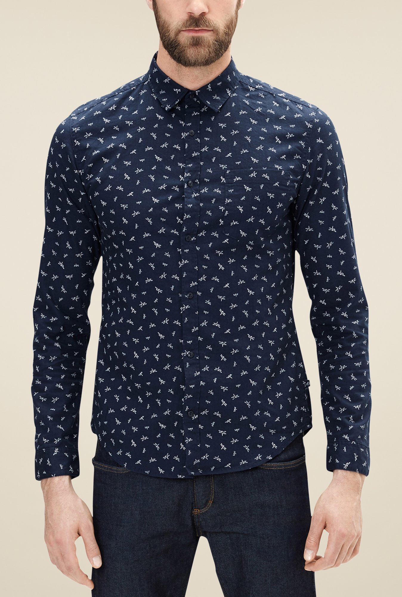 s.Oliver Navy Printed Shirt