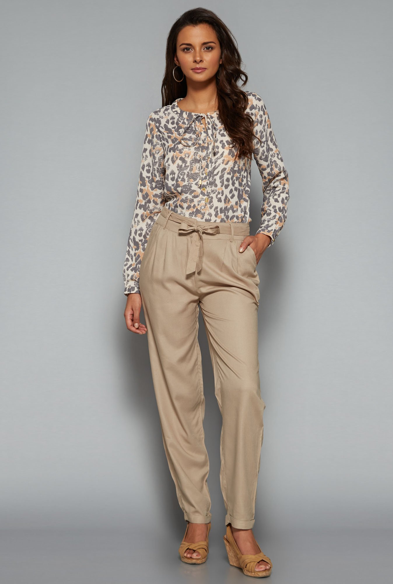 LOV Brown Cleo Animal Printed Blouse