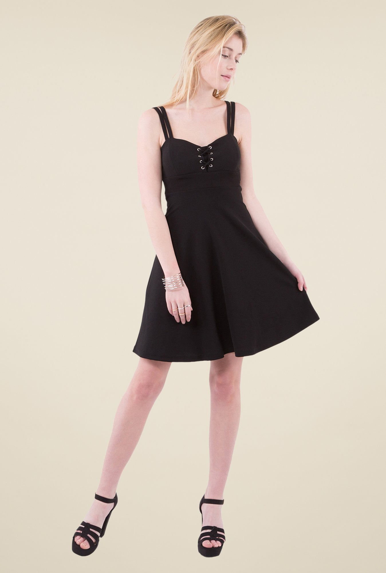 MIM Black Solid Skater dress