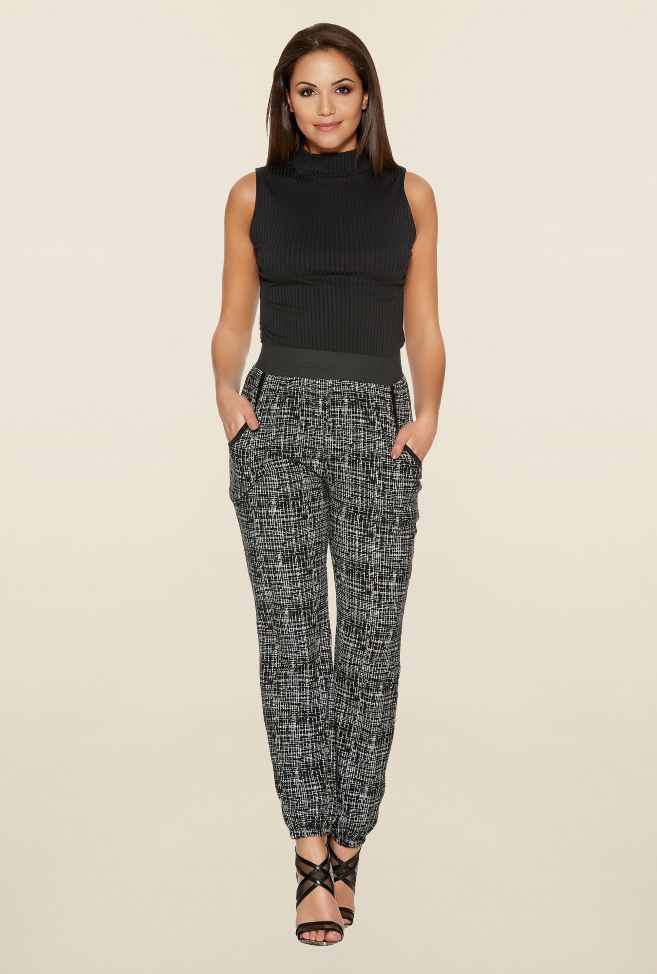 Quiz Black And White Scratch Print Harem Trousers