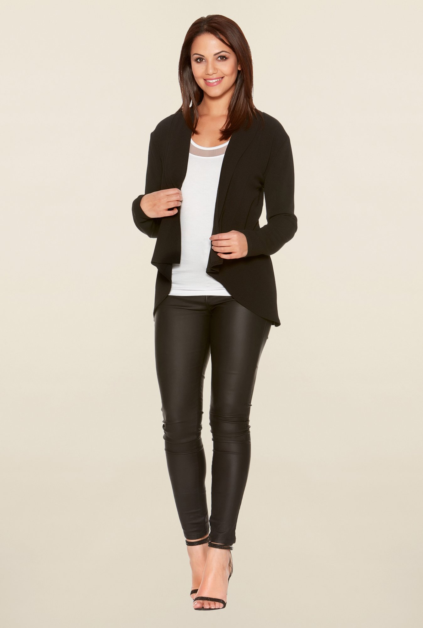 Quiz Black Solid Waterfall Jacket