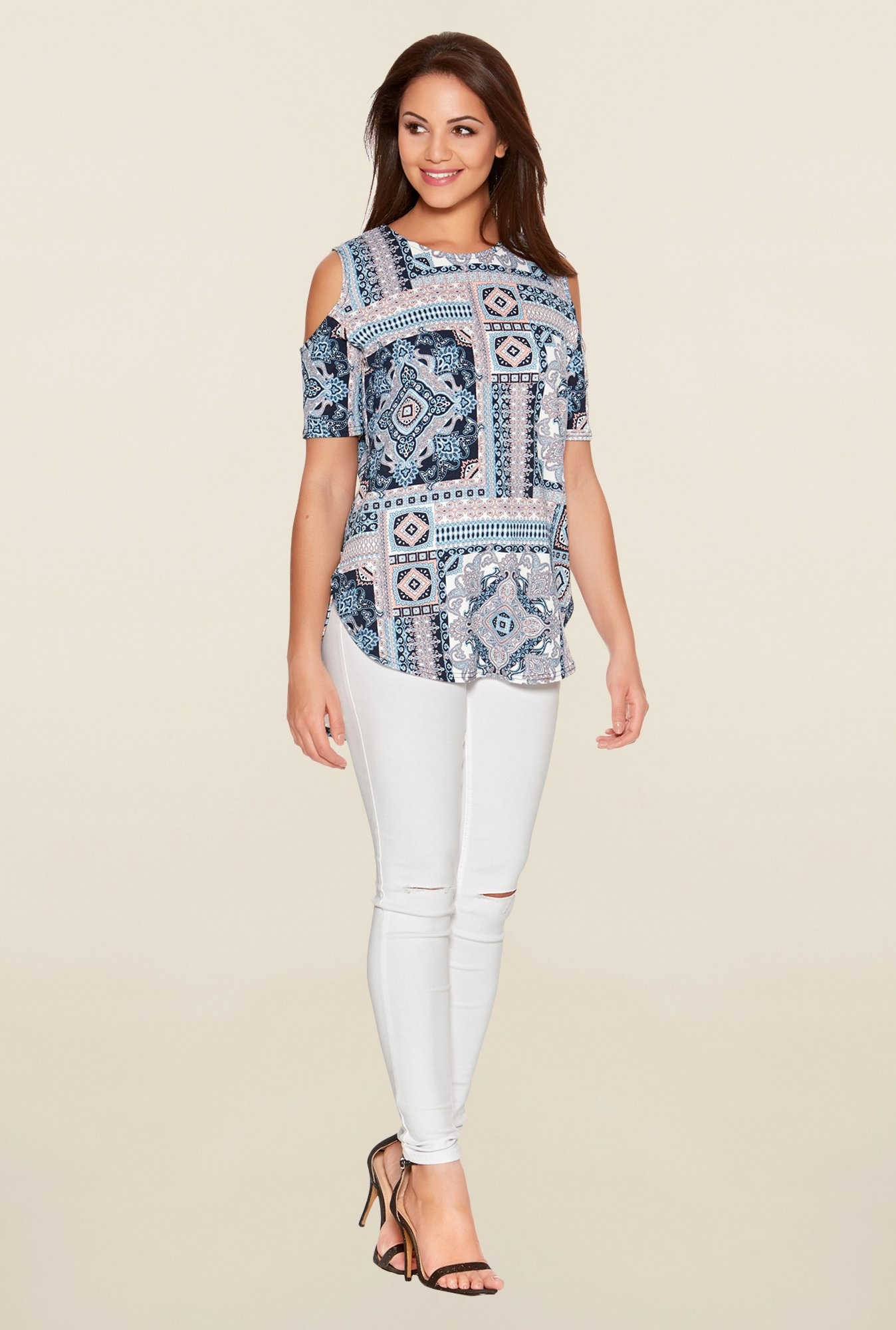 Quiz Multicolor Printed Cut Out Top