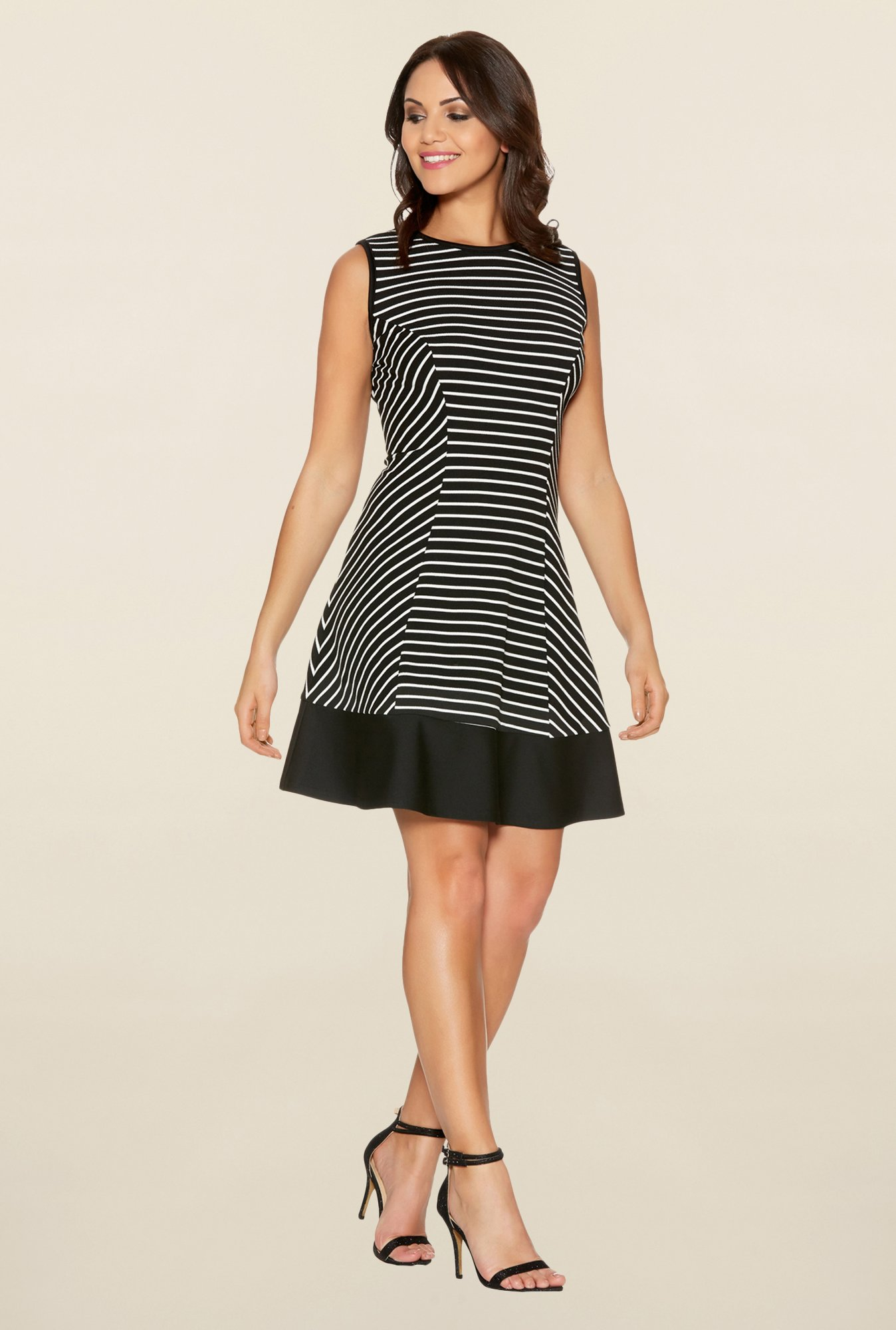 Quiz Black Striped Panel Dress