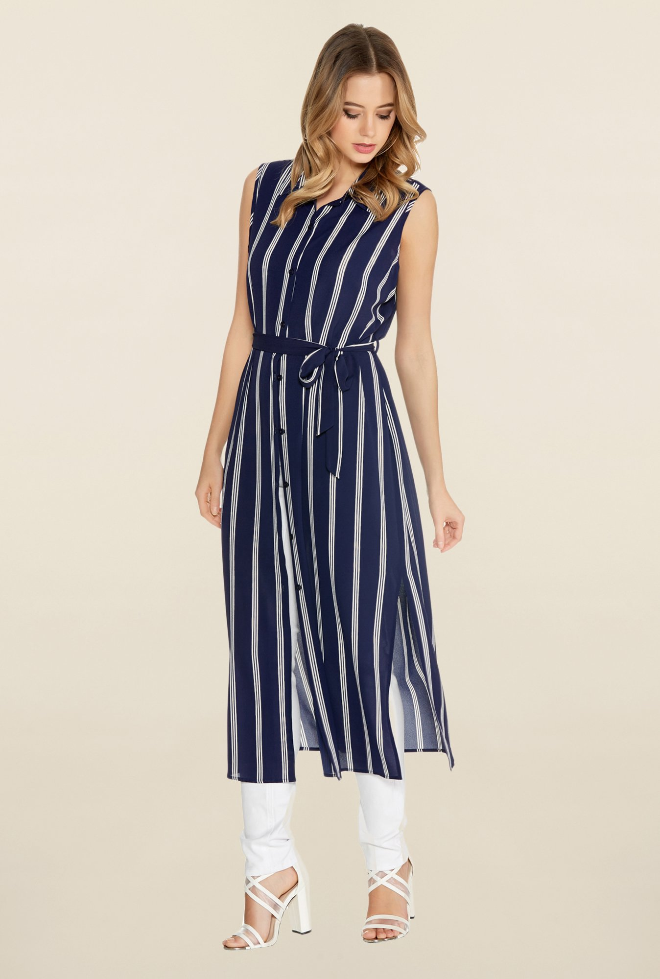 Buy Quiz Navy Cream Striped Shirt Dress Online At Best Price At Tatacliq