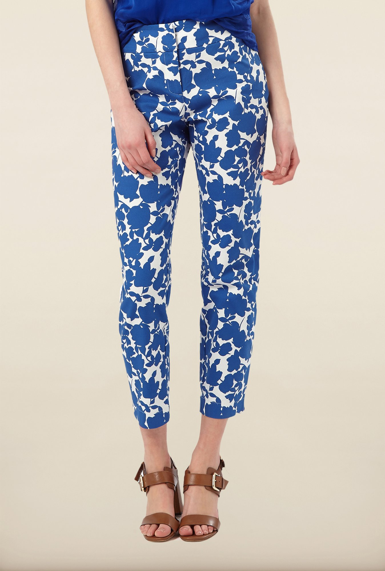 Phase Eight Blue Floral Printed Trousers