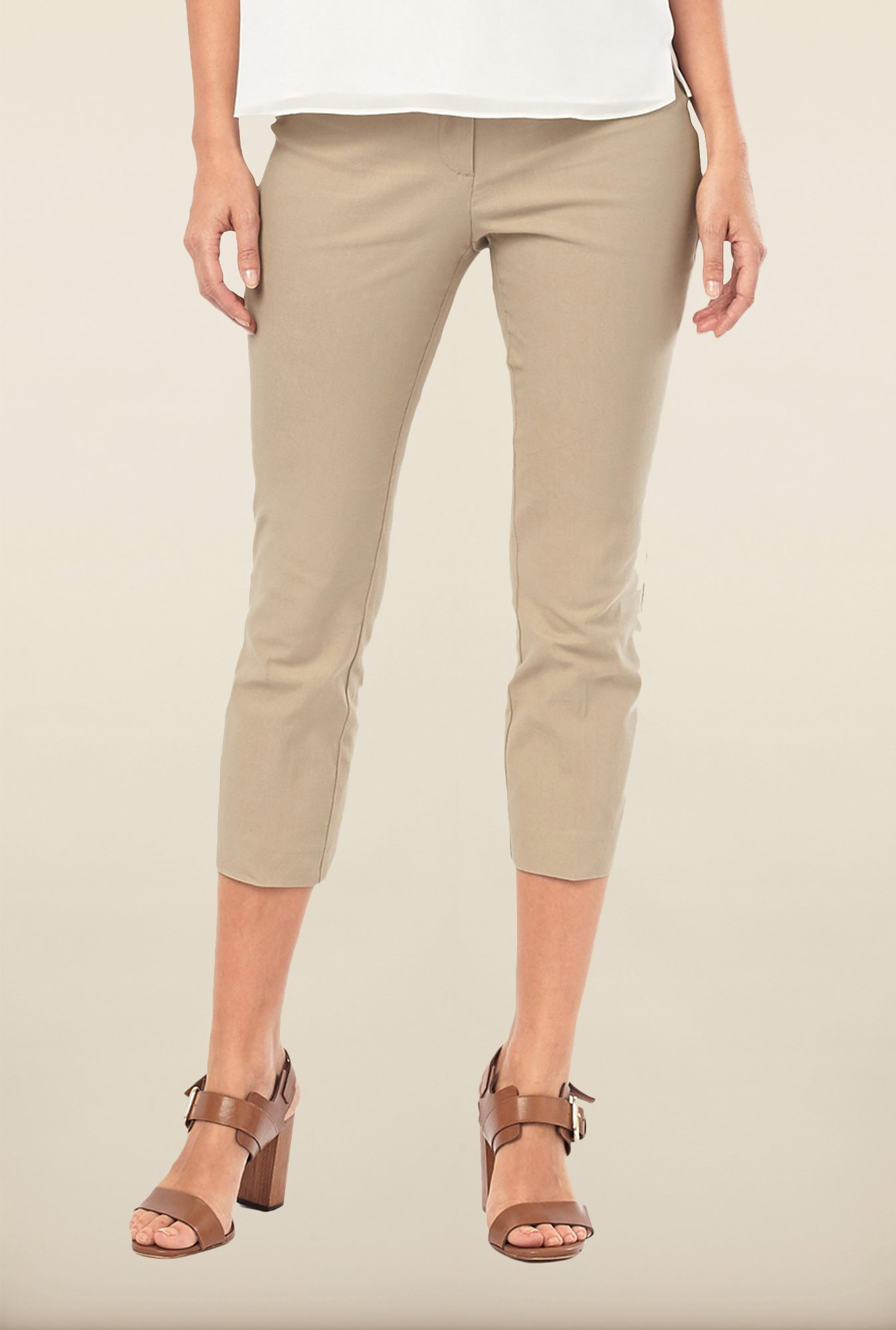 Phase Eight Beige Solid Casual Trousers