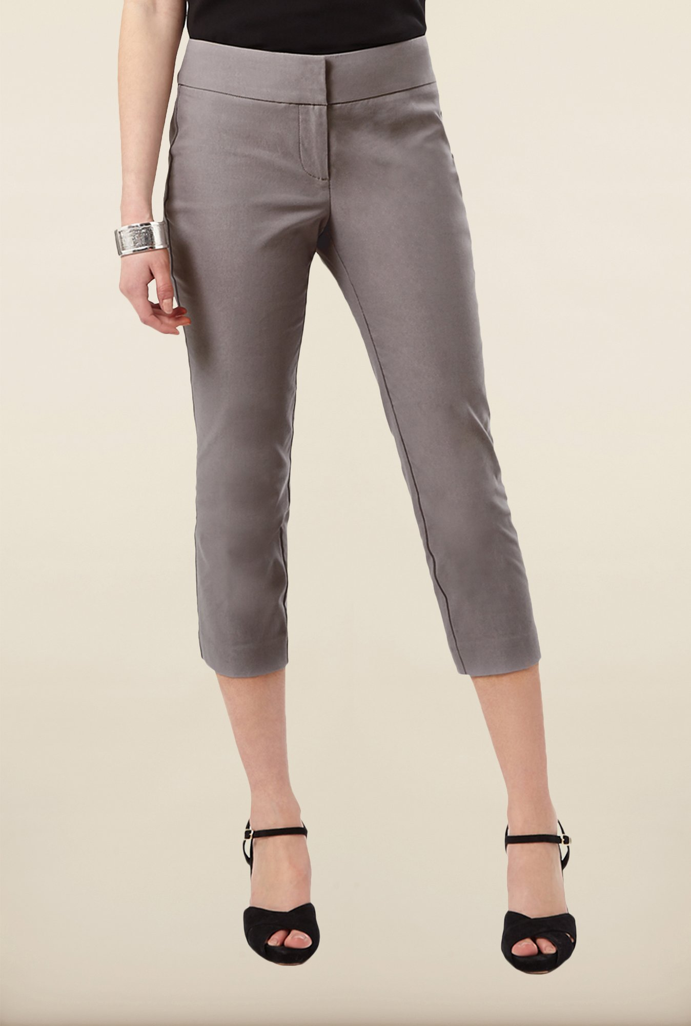 Phase Eight Grey Solid Casual Trousers