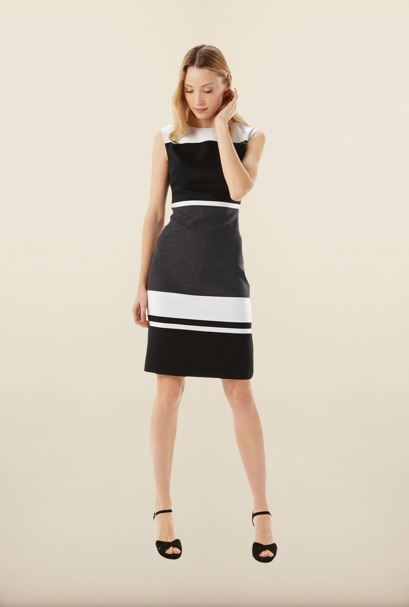 Phase Eight Grey & Black Striped Dress