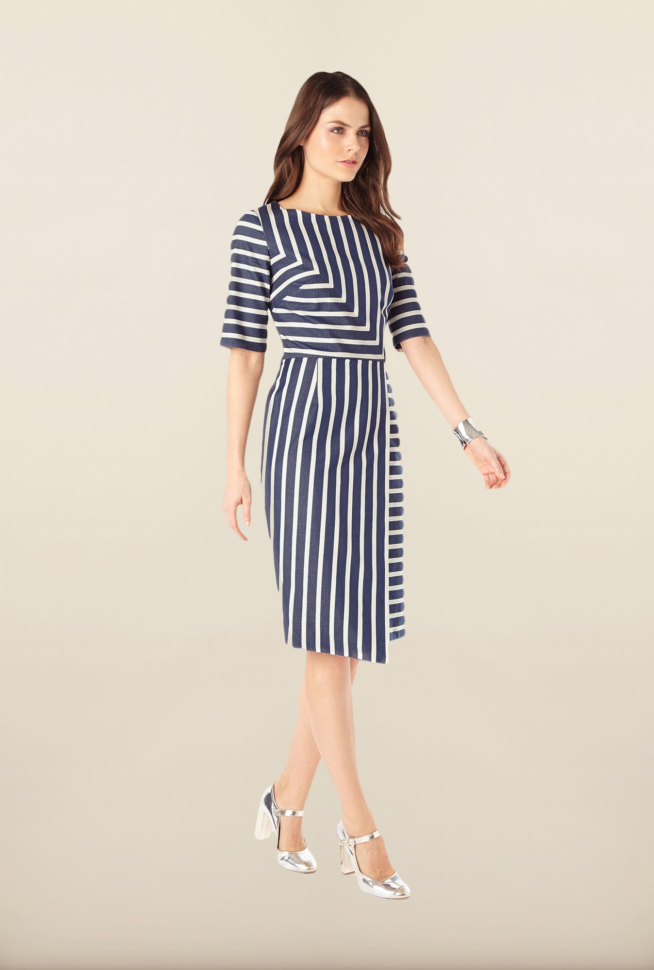 Phase Eight Navy Striped Casual Dress