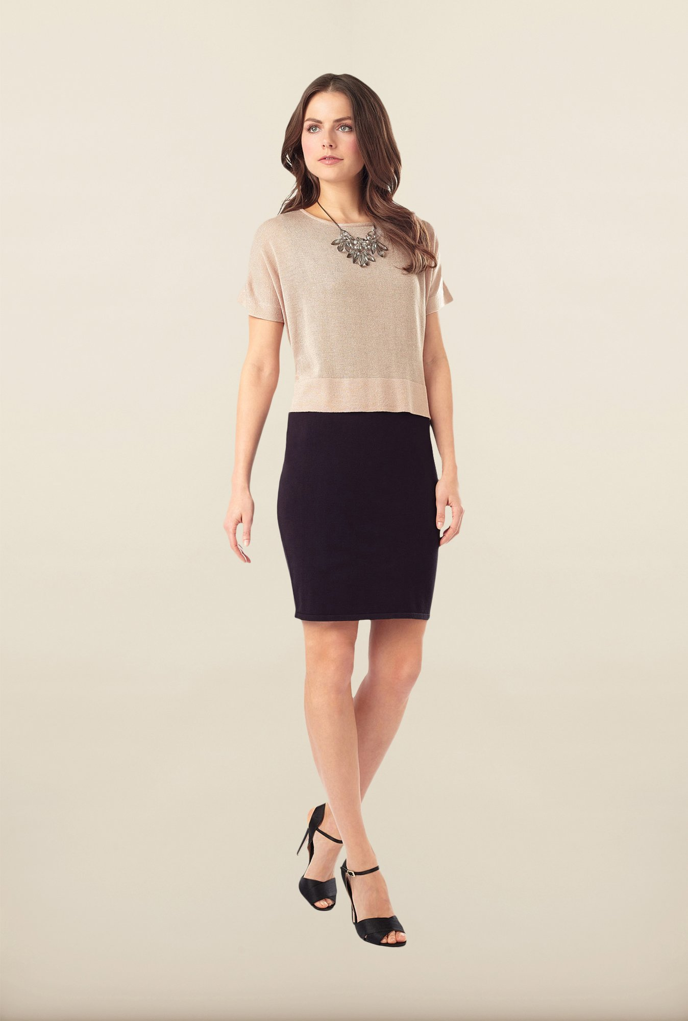 Phase Eight Beige Solid Layered Dress
