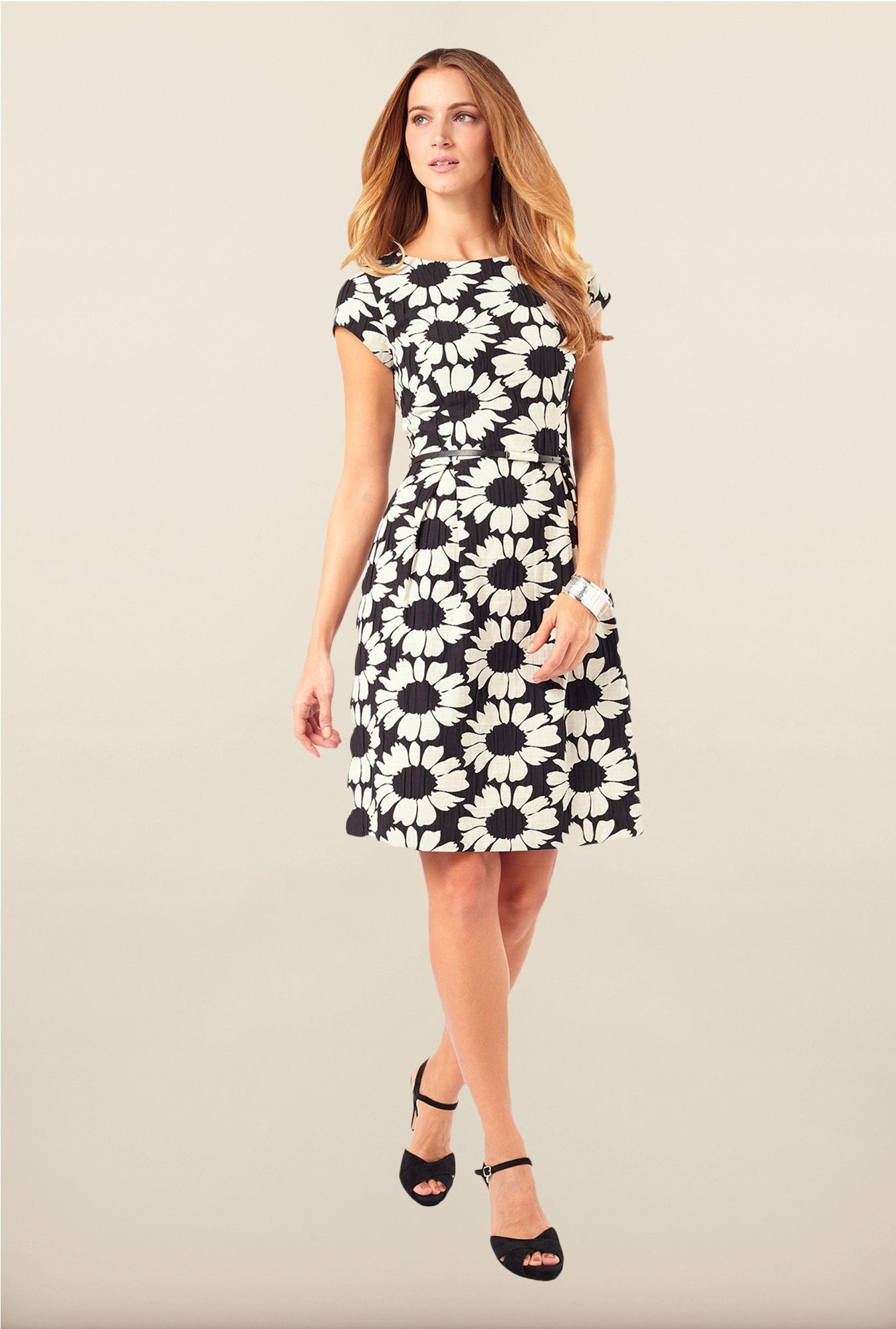 Phase Eight Black Floral Skater Dress