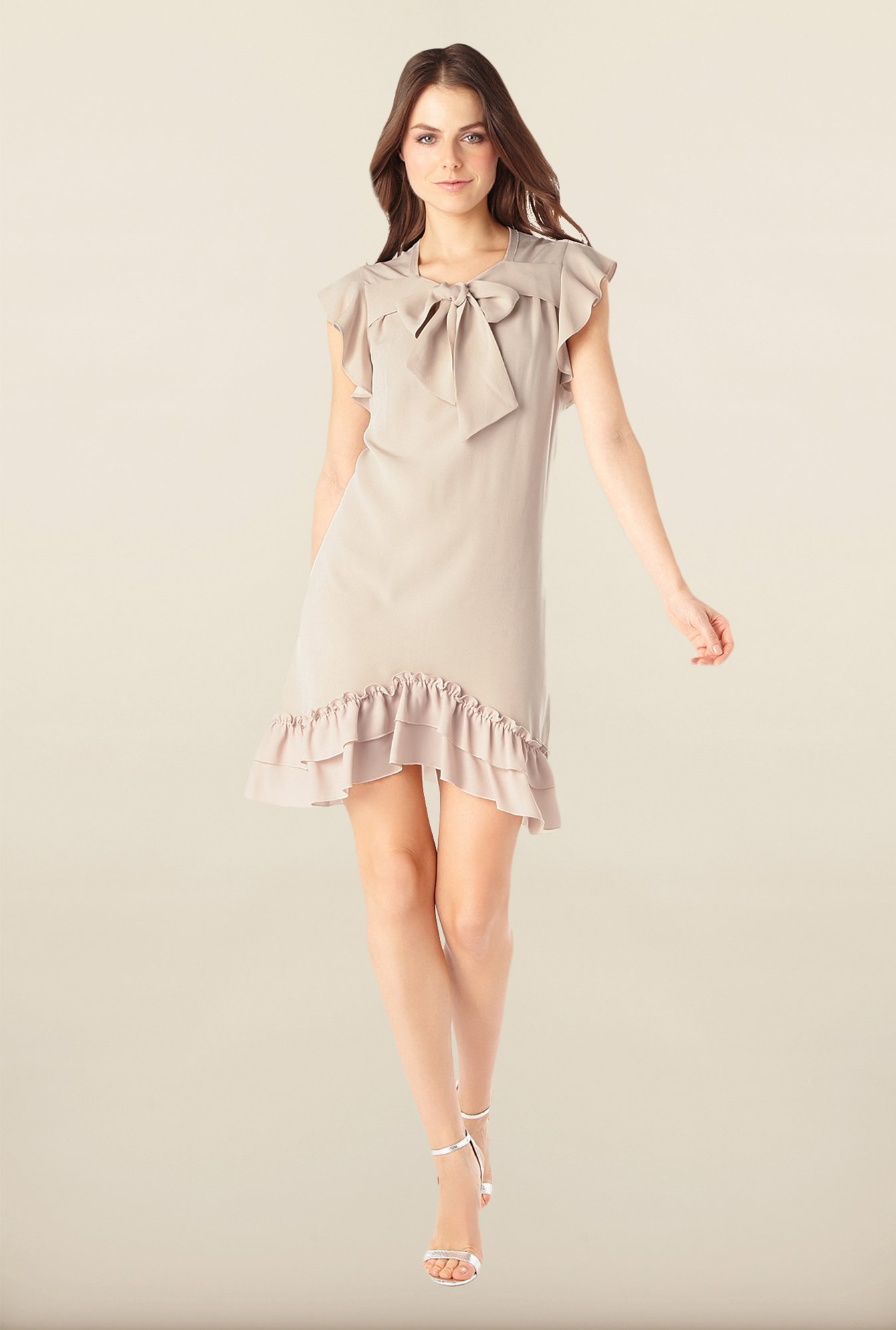 Phase Eight Beige Solid Draped Dress