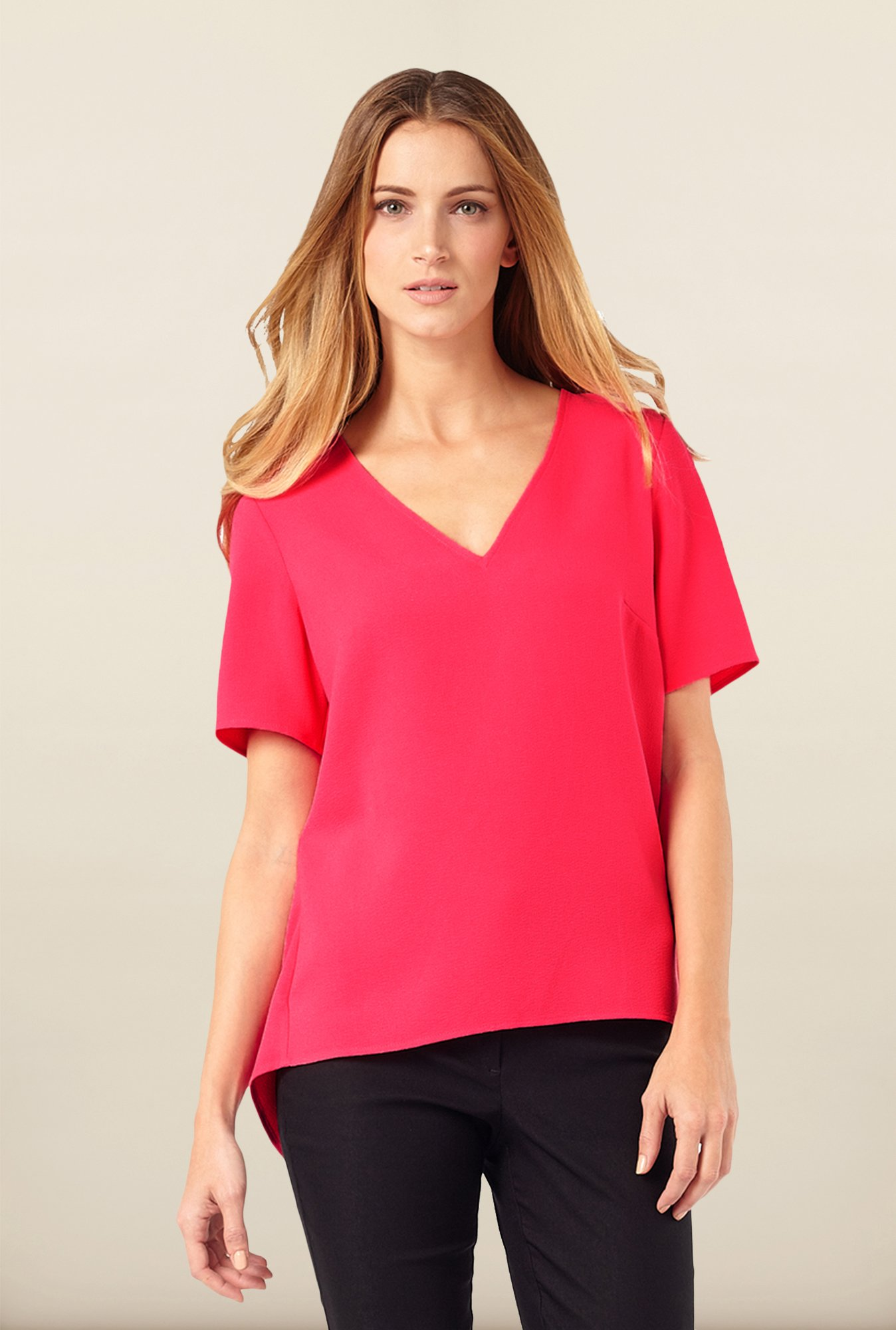 Phase Eight Pink Split Back Top
