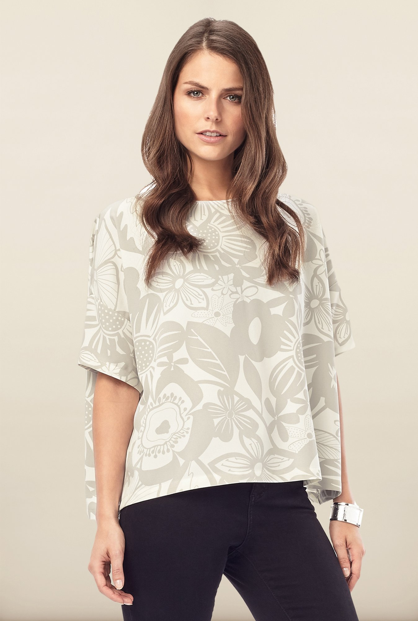 Phase Eight Grey Floral Printed Top