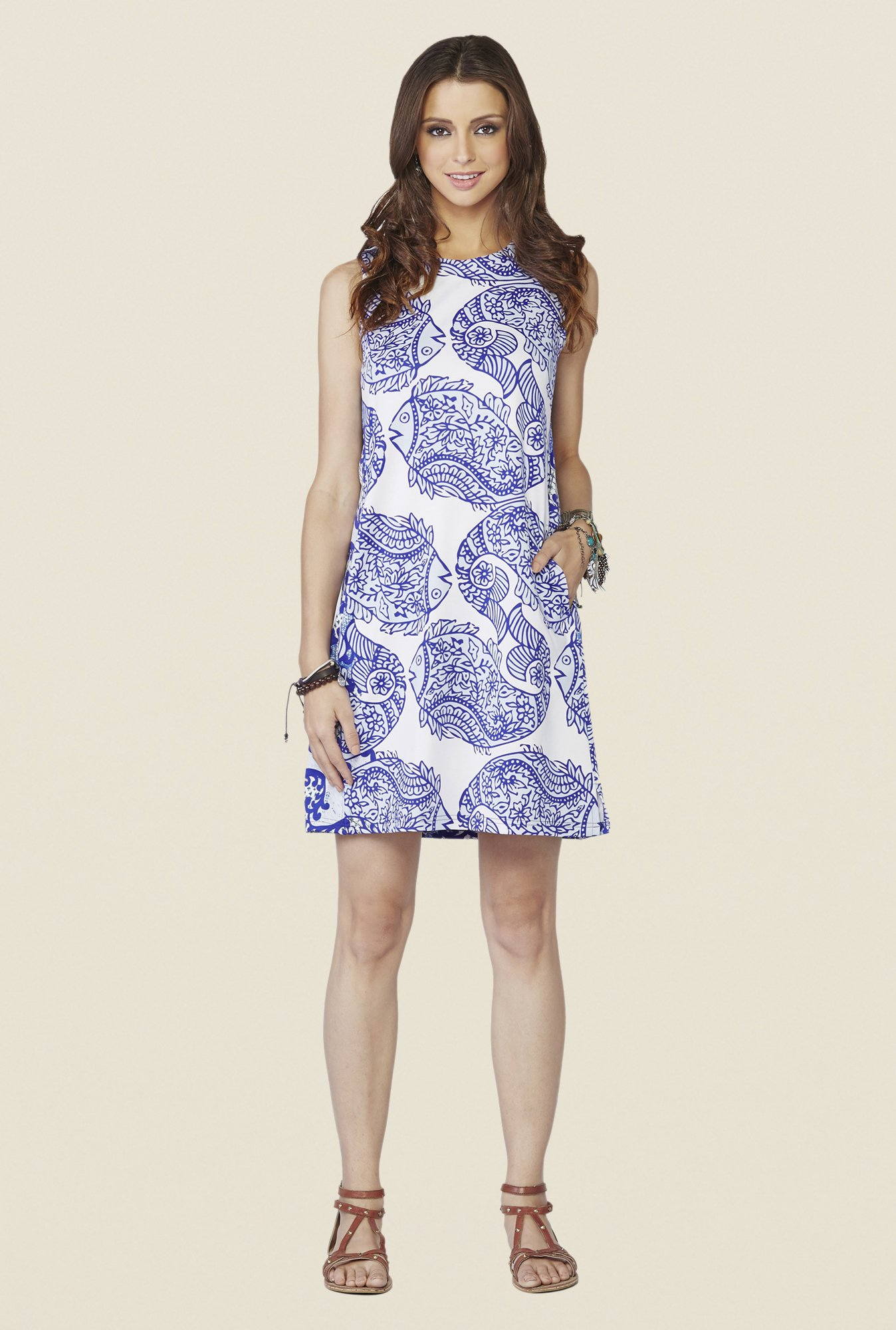 Global Desi Blue Isla Printed Dress