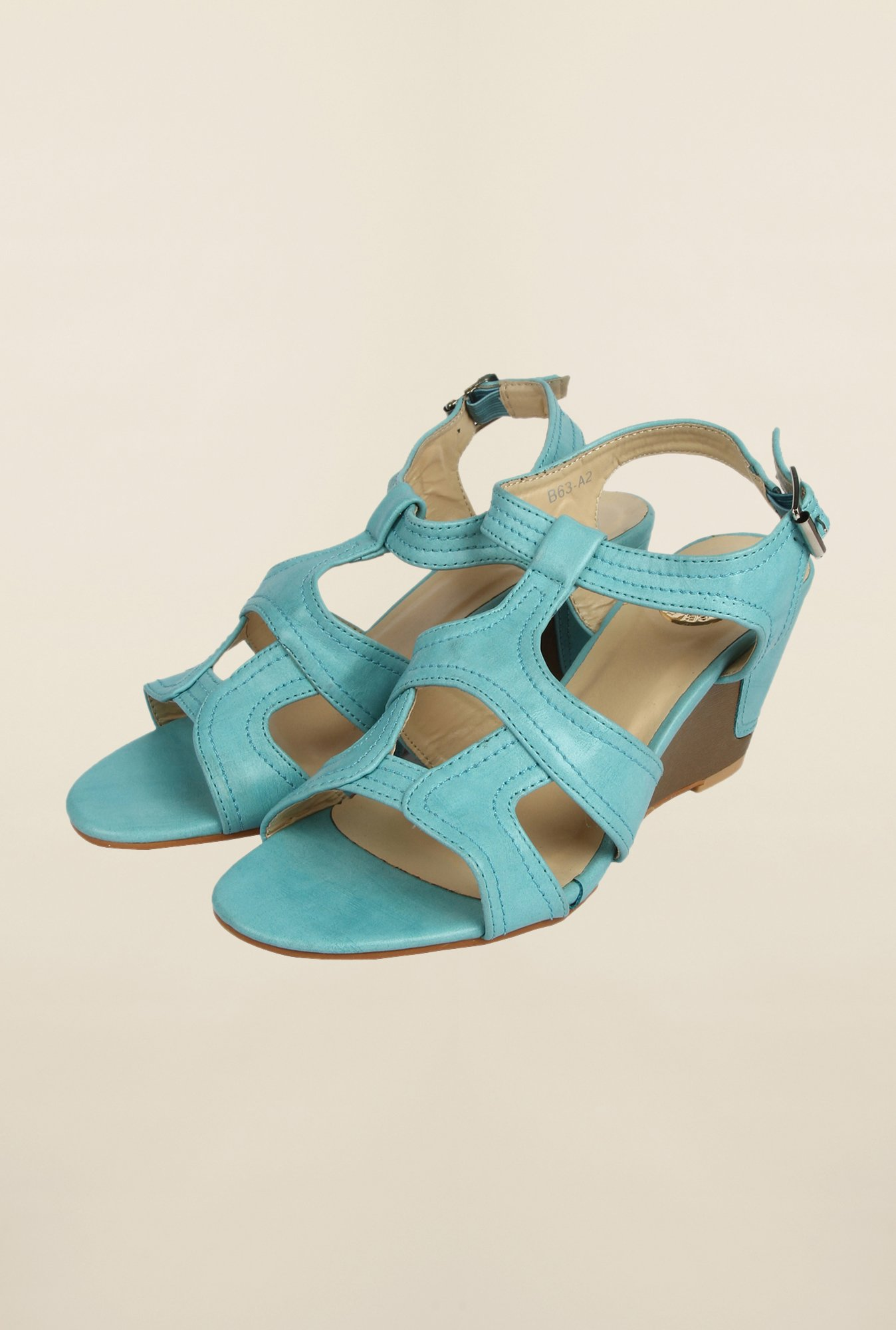 Cobblerz Aqua Wedge Sandals