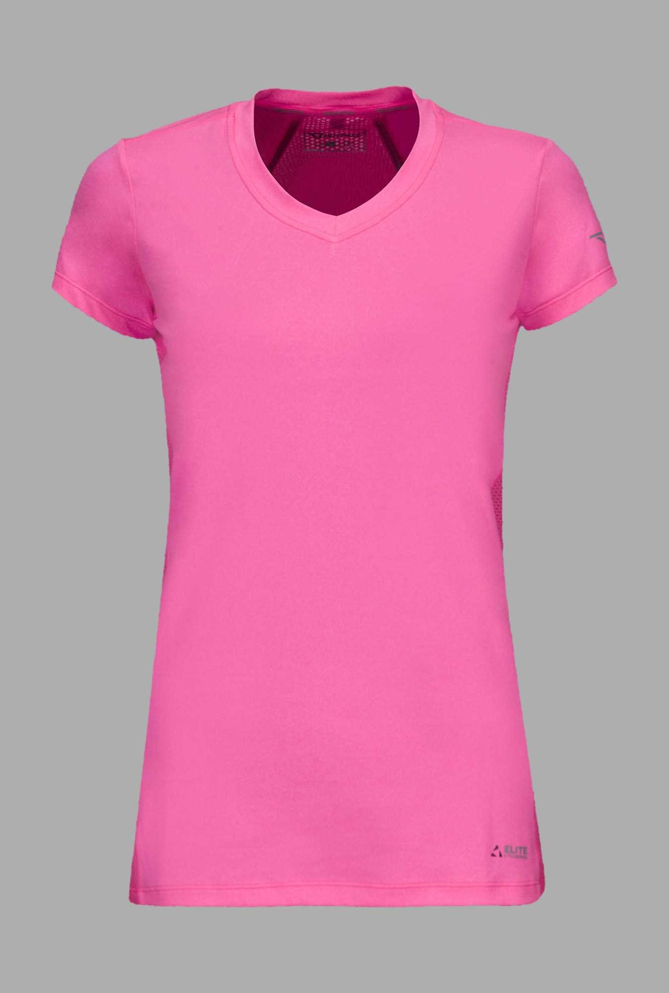 Outpace Pink V Neck Running T Shirt