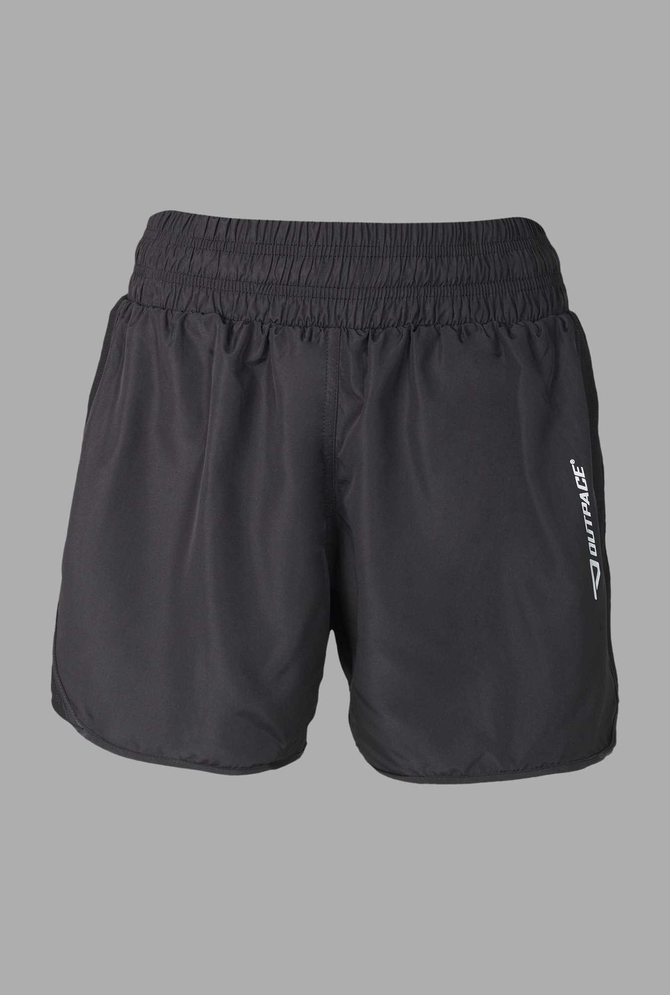 Outpace Black Solid Running Shorts