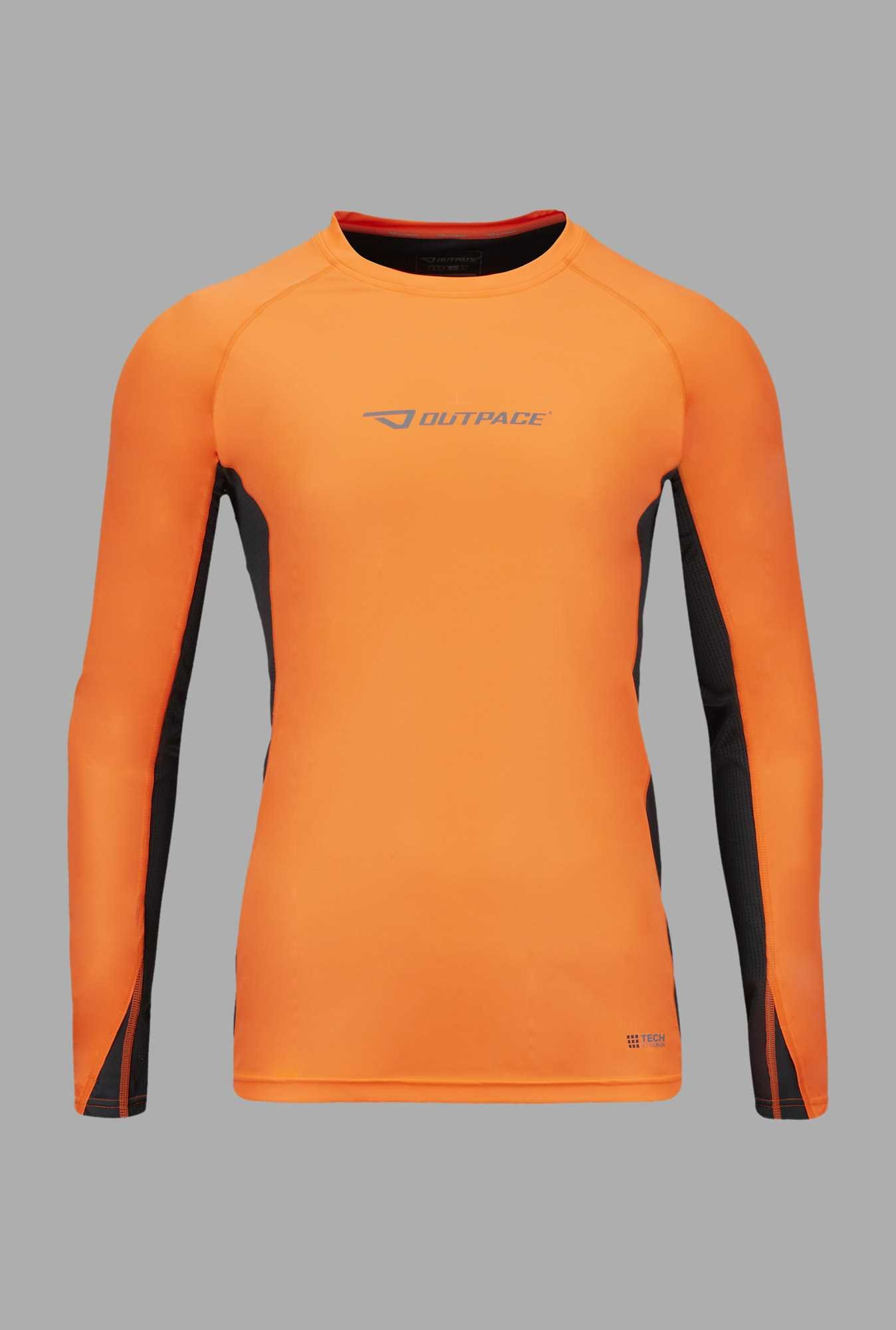Outpace Orange & Black Solid Running Sweatshirt