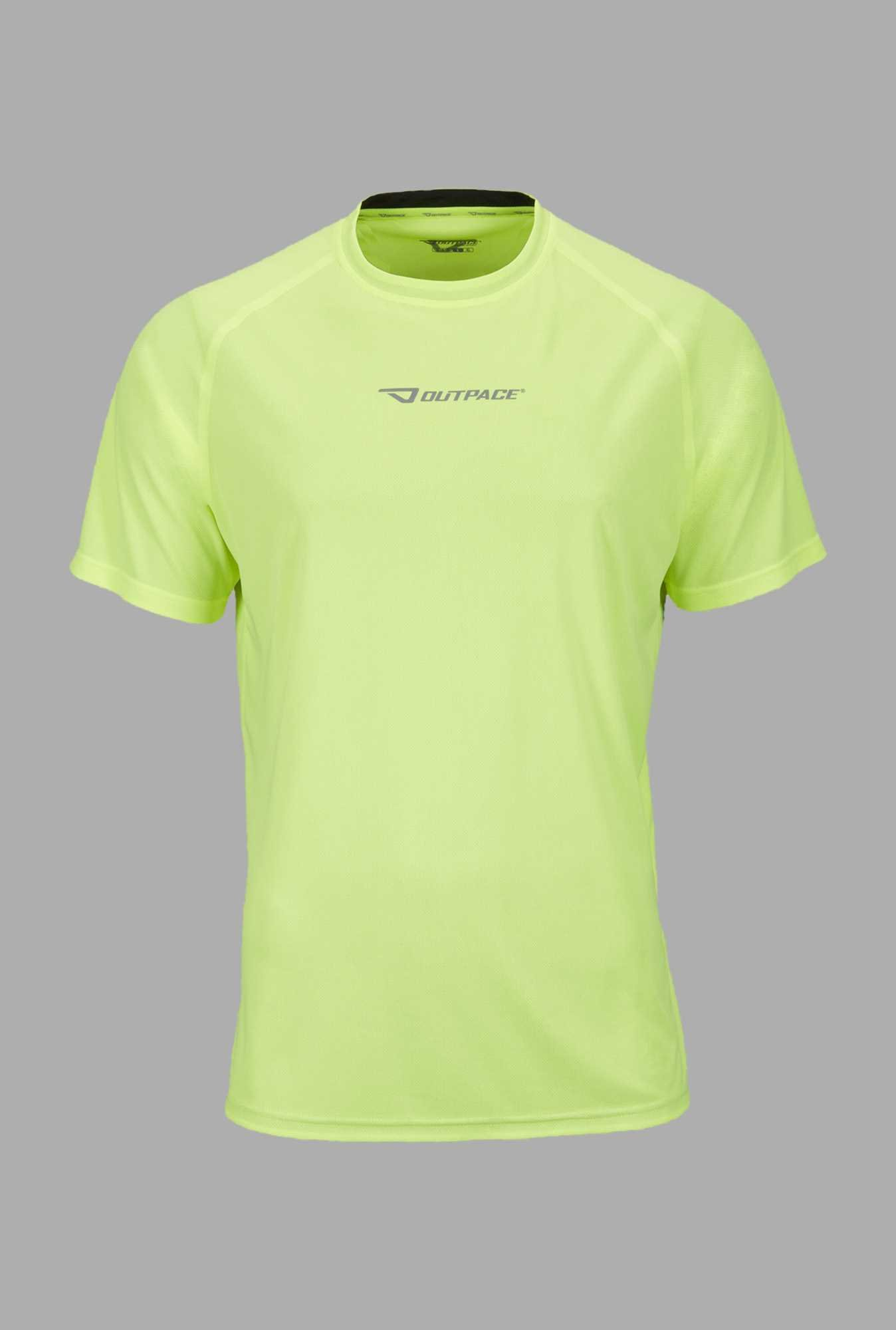 Outpace Lime Solid Running T Shirt