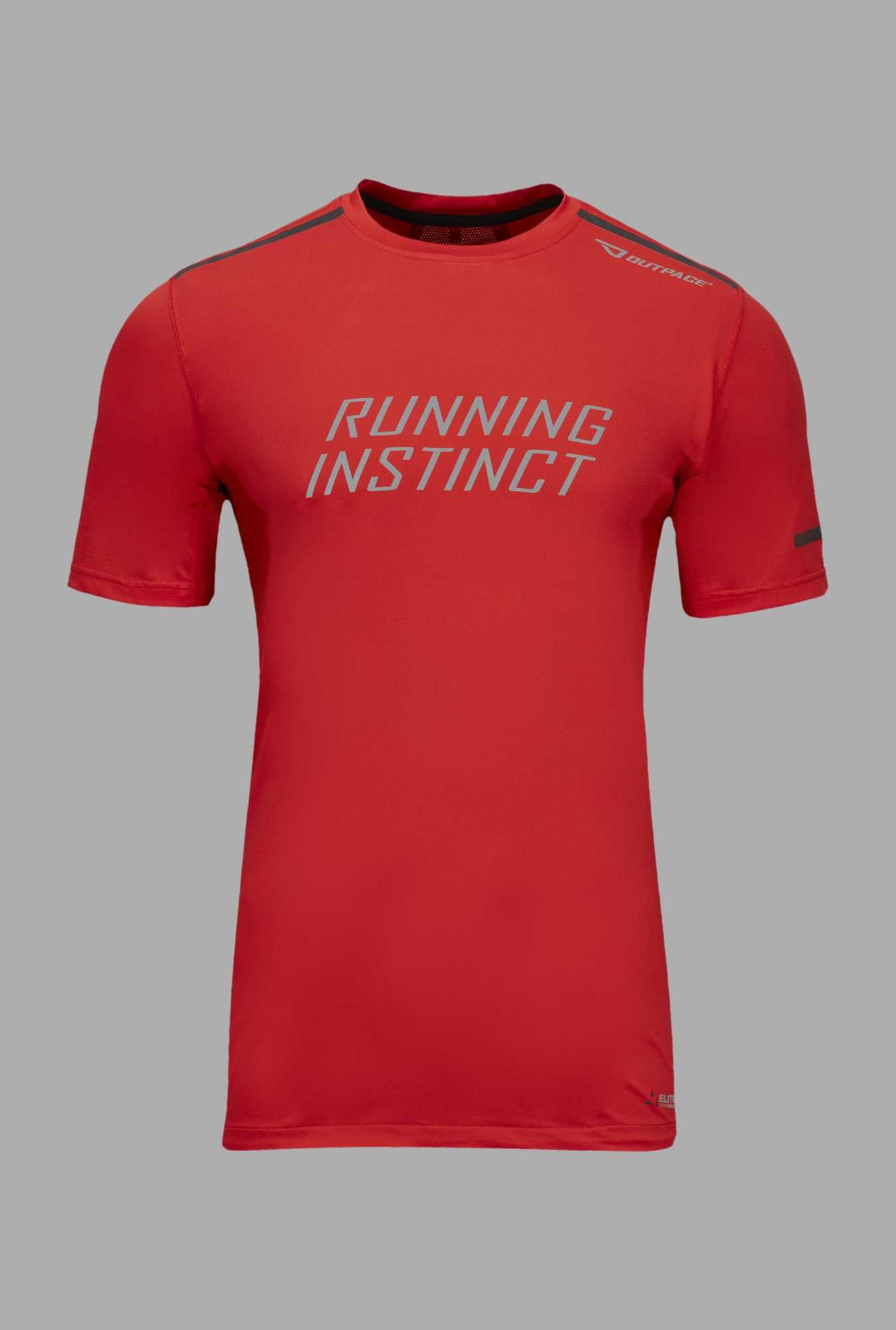 Outpace Red Printed Running T Shirt
