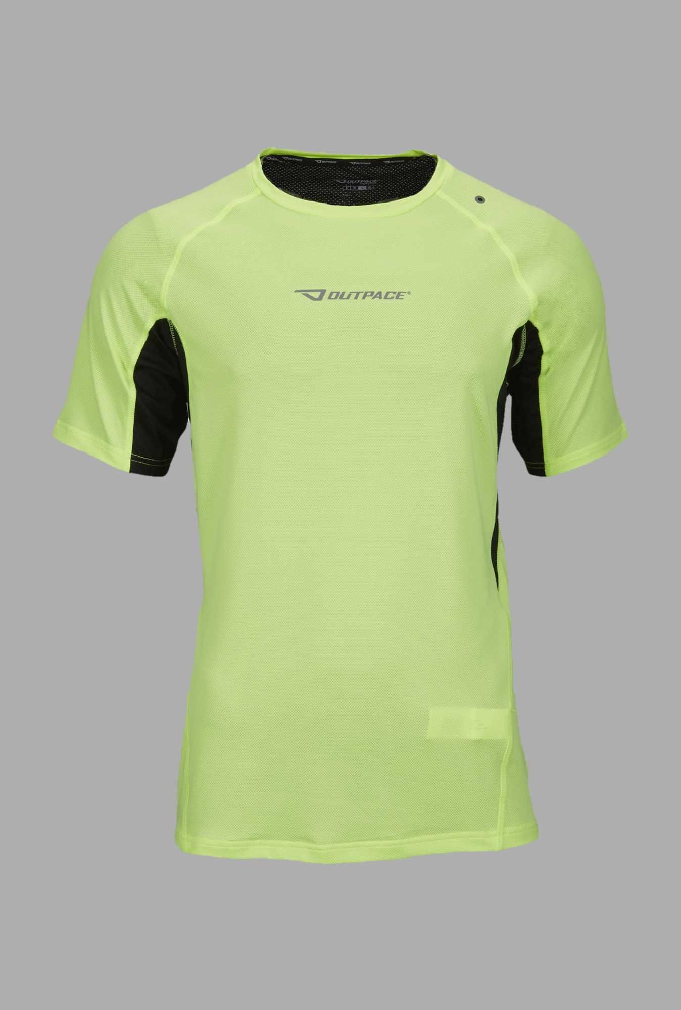 Outpace Lime Solid Runing T Shirt