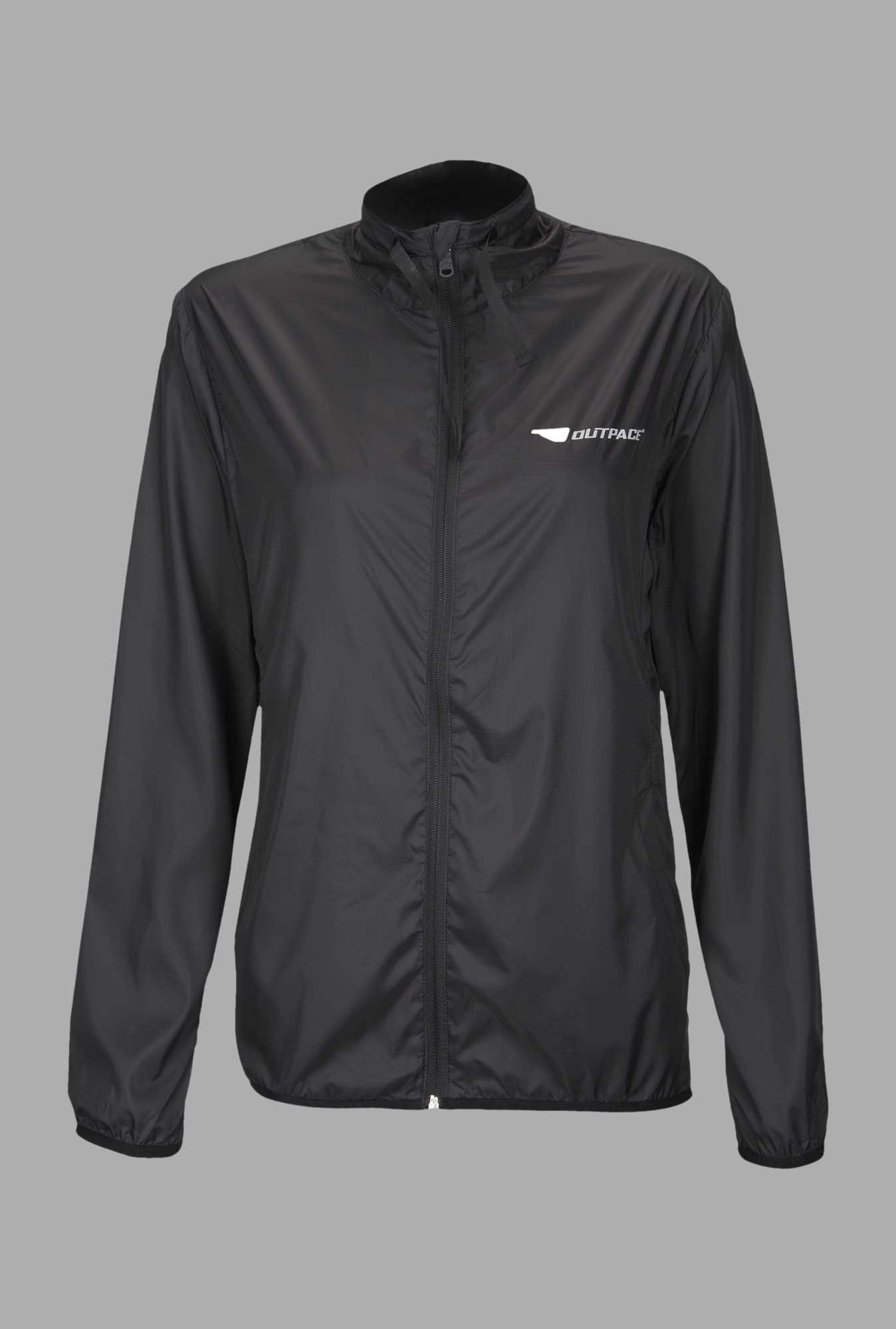 Outpace Black Running Windbreaker Jacket