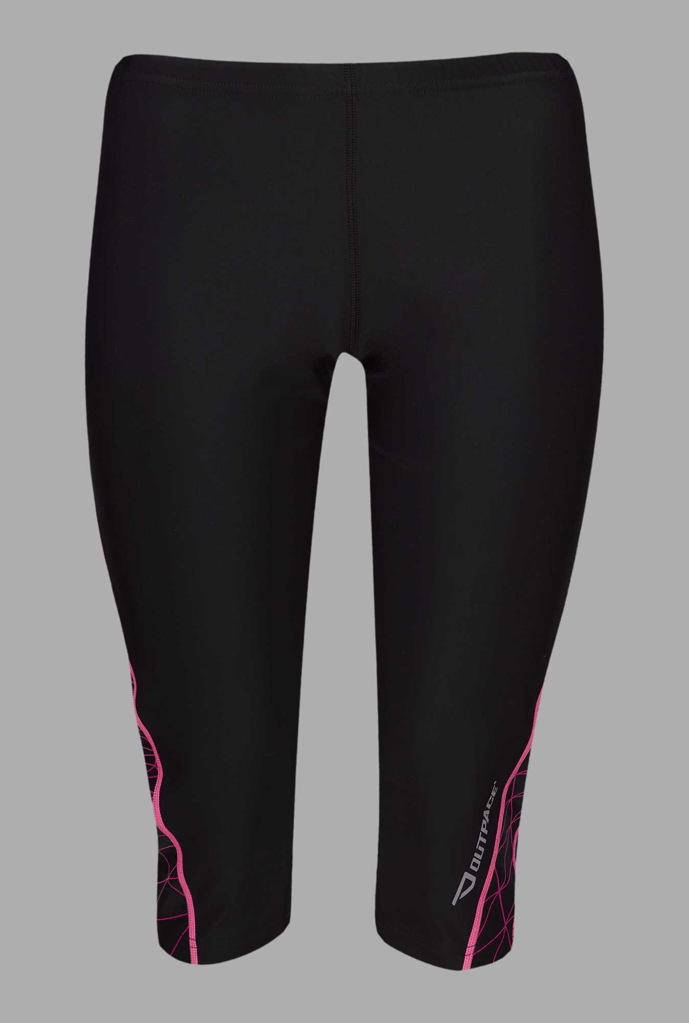 Outpace Black Solid Running Capri