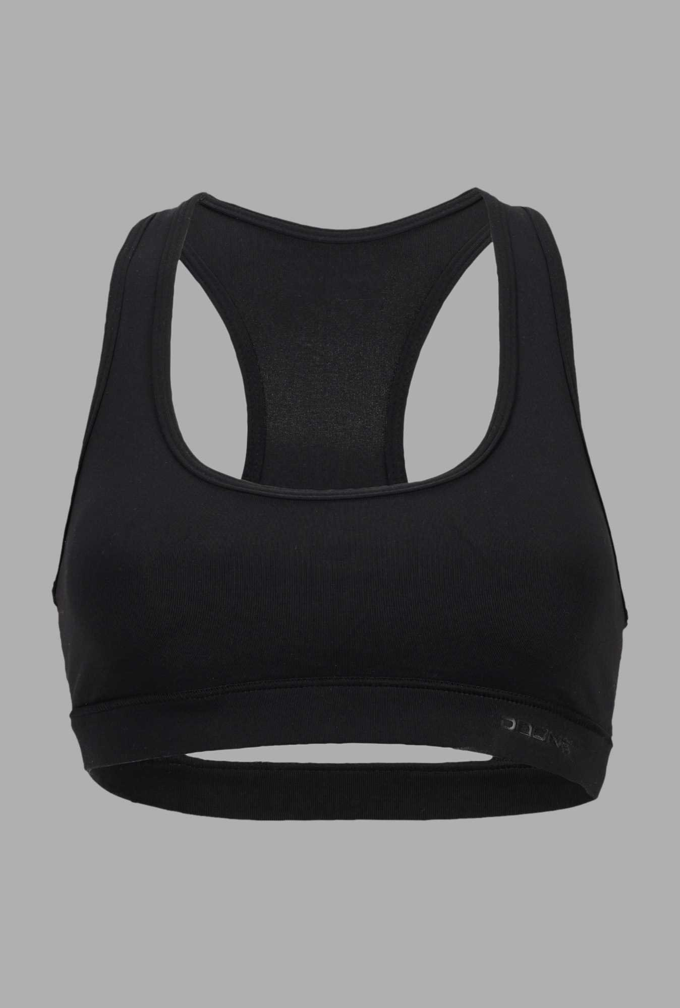 Doone Black Solid Slim Fit Training Sports Top