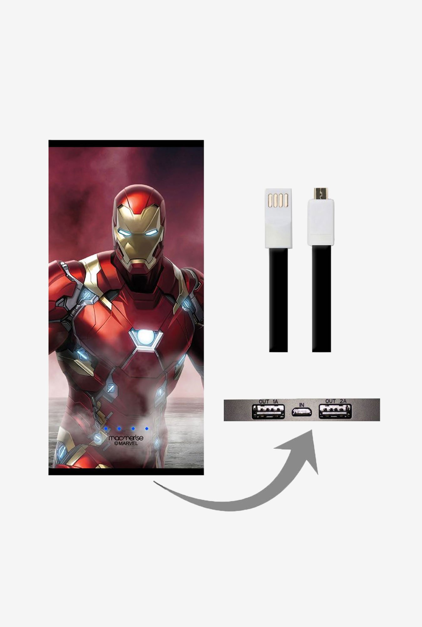 Macmerise UNP8KMMM0602 Team Red Ironman 8000 mAh Universal POwer Bank with Dual USB Output