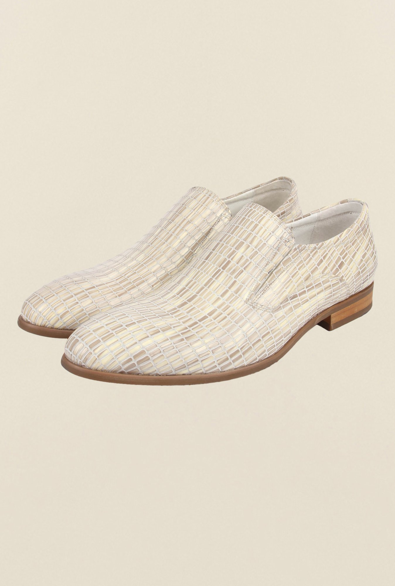 Cobblerz Beige Leather Slip-On Shoes