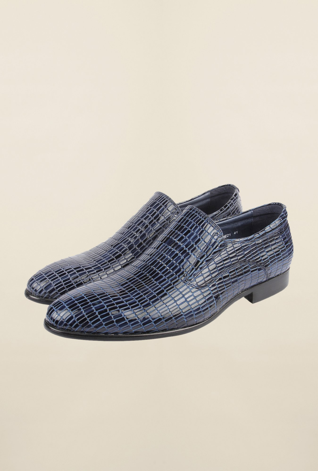 Cobblerz Blue Leather Slip-On Shoes