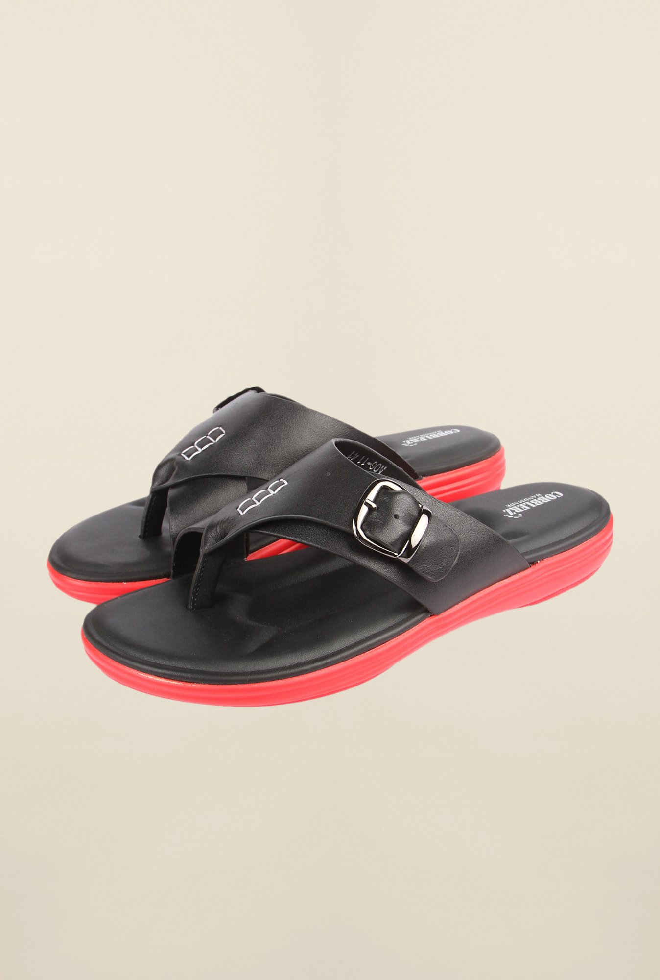 Cobblerz Black & Red Thong Sandals