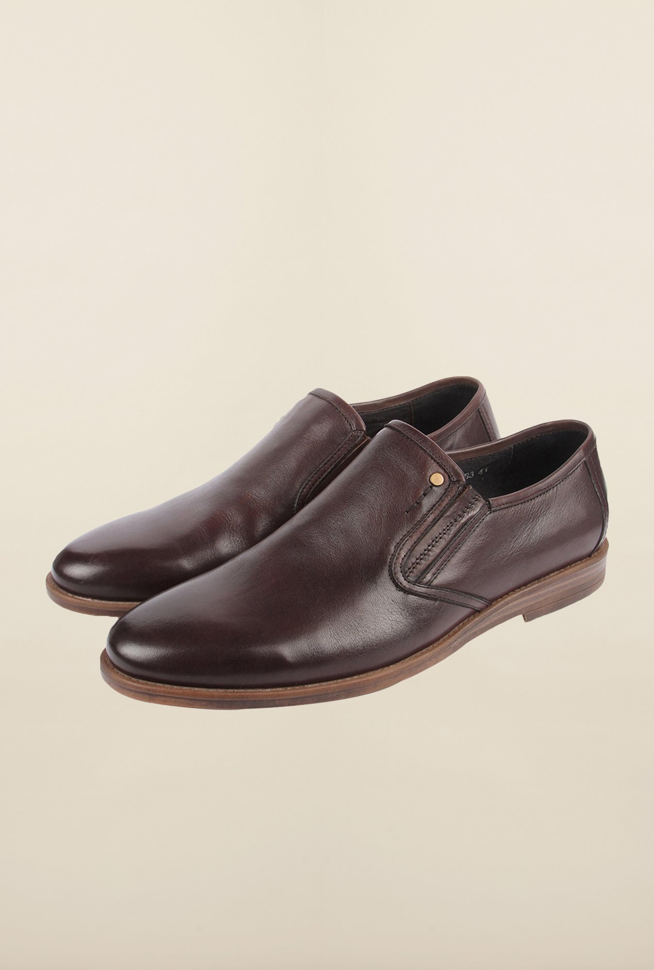 Cobblerz Coffee Leather Slip-Ons
