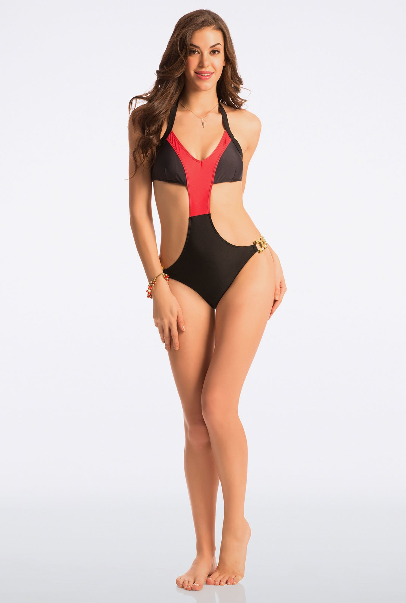Pretty Secrets Black & Red Monokini