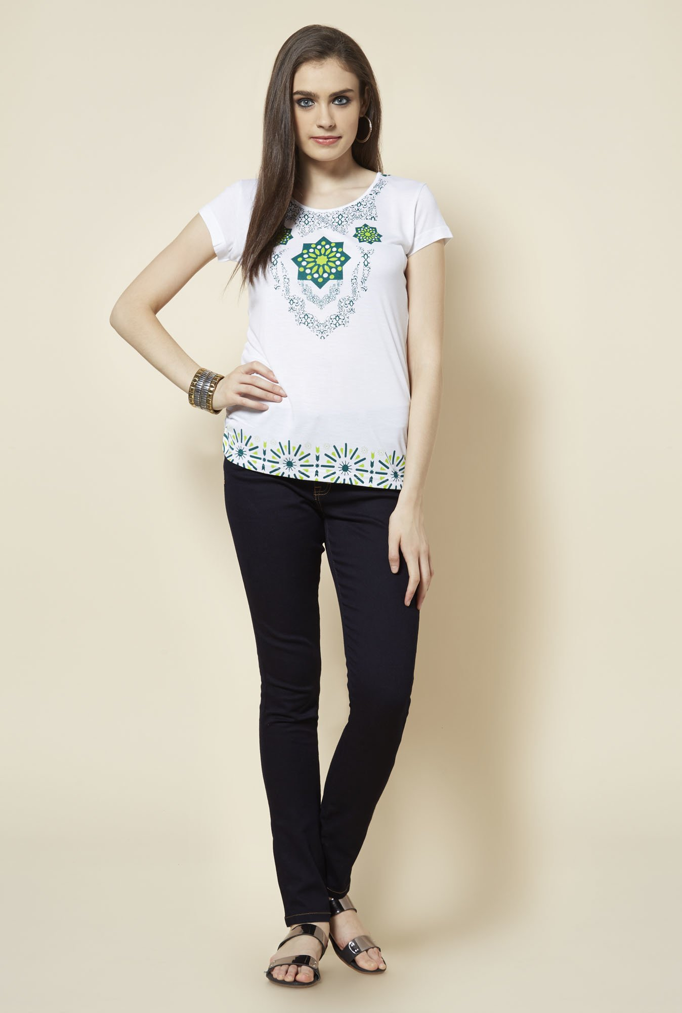 Zudio White Floral Printed Top