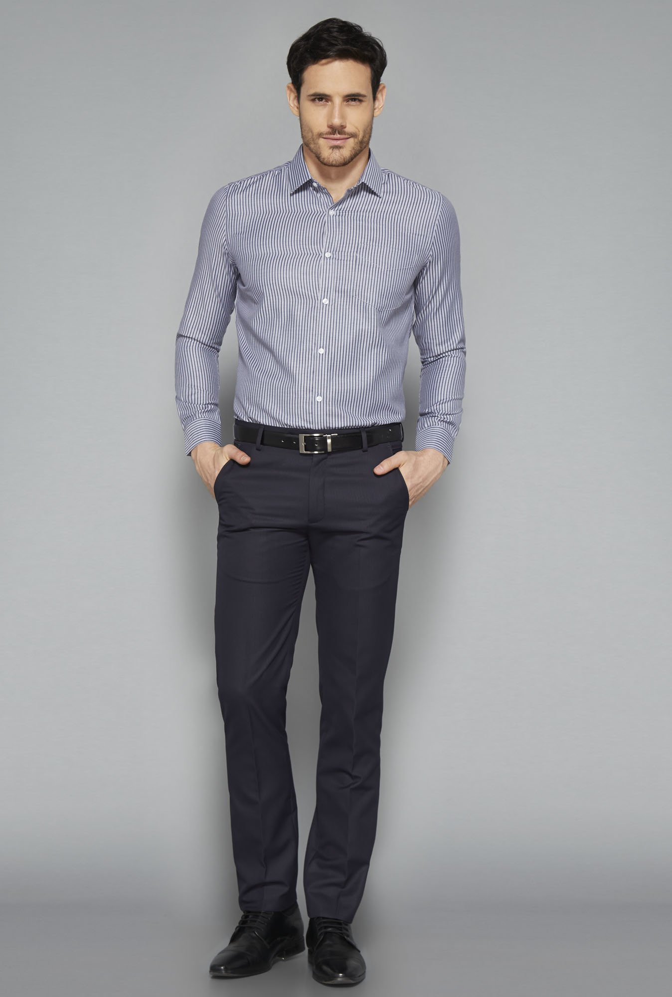 Weststreet Grey Striped Slim Fit Shirt