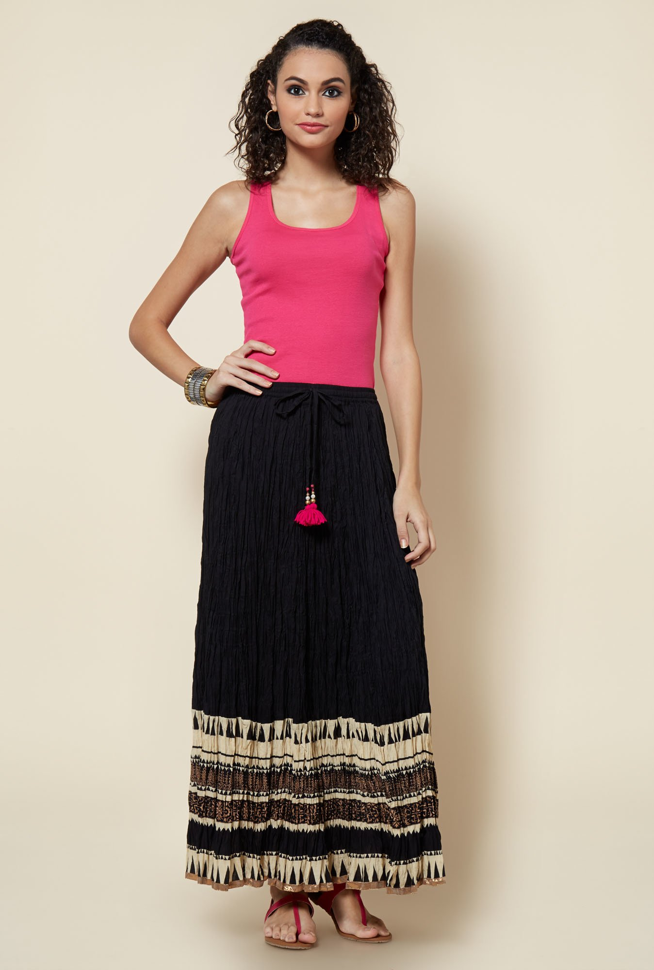 Zudio Black Printed Maxi Skirt