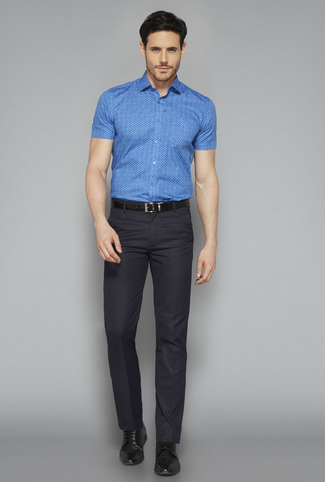 Weststreet Blue Printed Slim Fit Shirt
