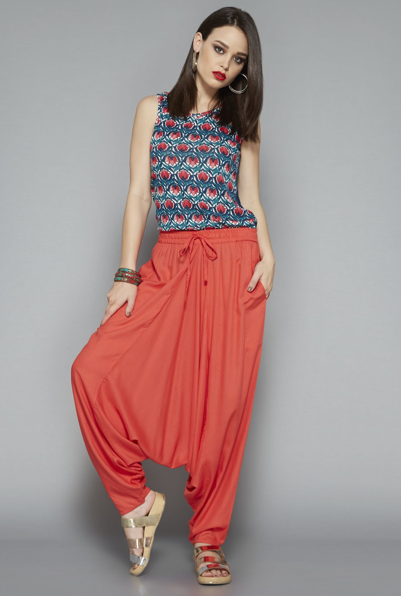 Bombay Paisley Coral Afghan Pant