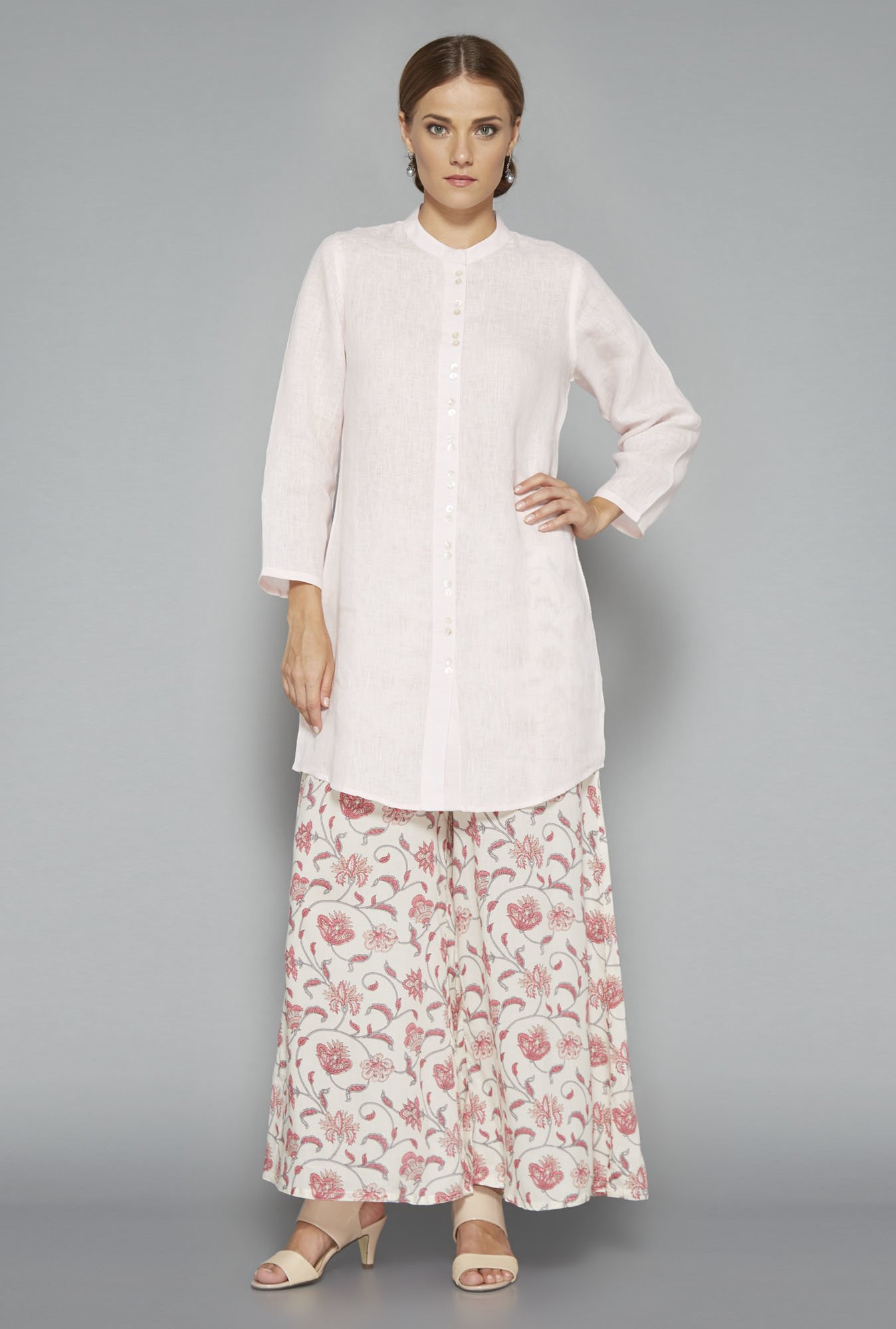 Zuba Light Pink Linen Solid Kurti