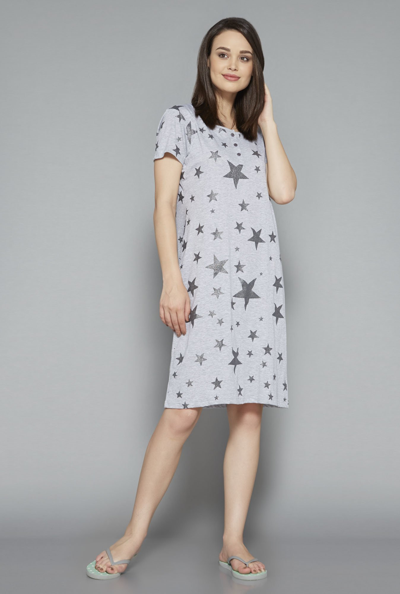 Intima Grey Printed Nightdress