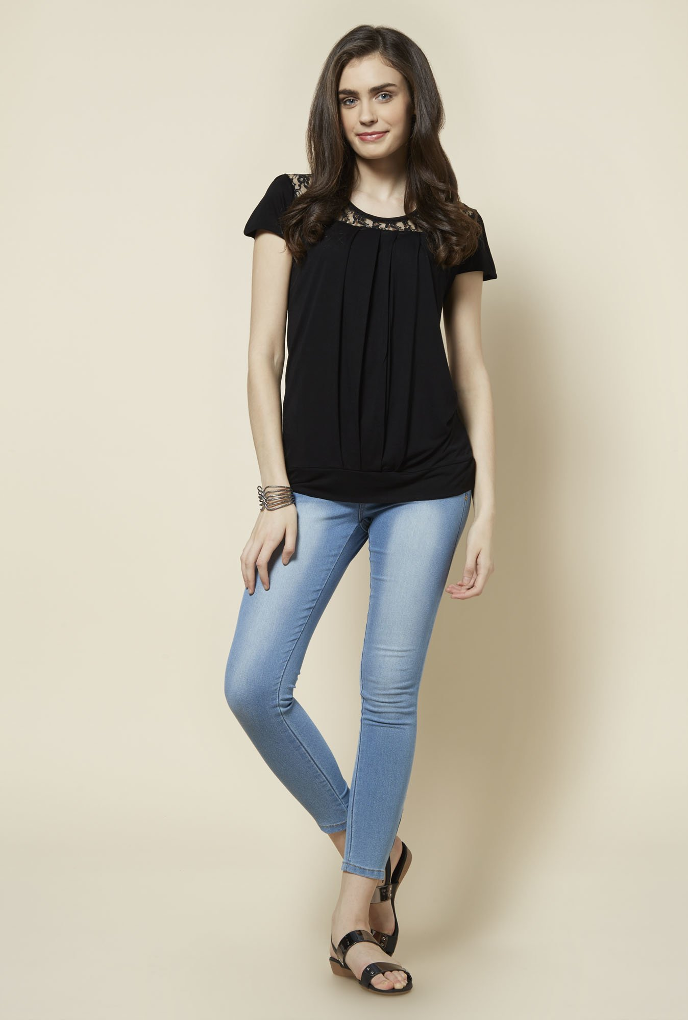 Zudio Black Solid Marty Top