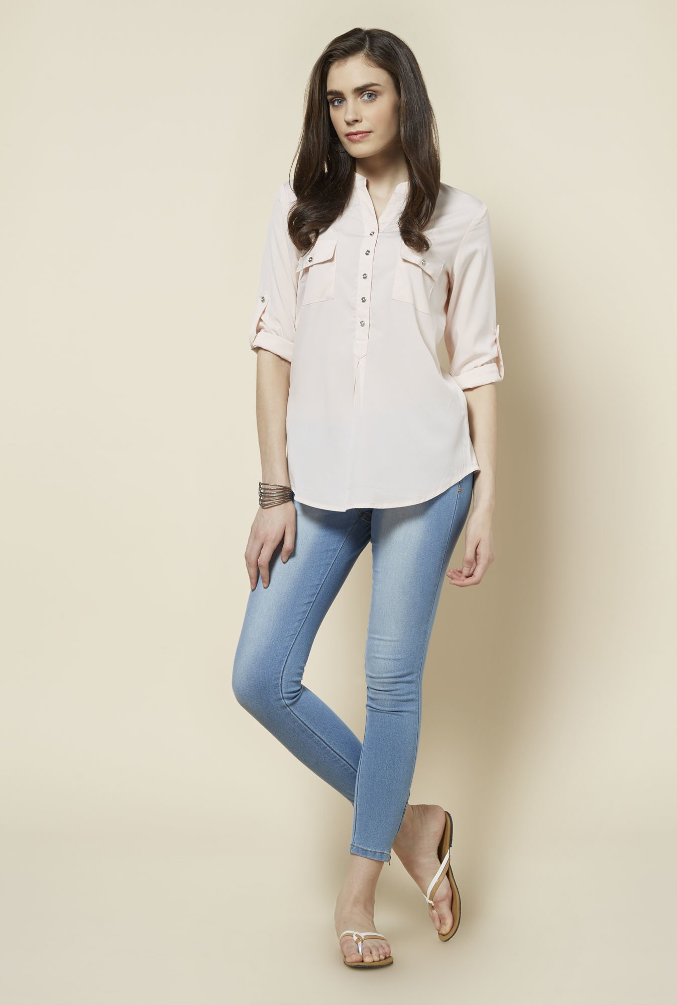 Zudio Light Pink Solid Topsy Blouse